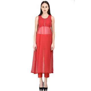 Westchic RED SIDE CUT CAPE LONG DRESS