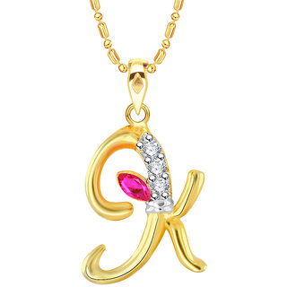VK Jewels Alphabet with Ganesh Initial Letter K Gold and Rhodium Plated  Alloy Pendant with Chain for Men Women made with Cubic Zirconia P2246G