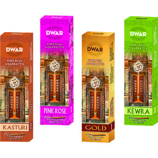 Dwar Agarbatti Combo of 4 Kasturi, Pink rose, Gold, Kewra- 100 Sticks each-With Free Stand in each Pack