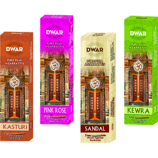 Dwar Agarbatti Combo of 4 Kasturi Pink rose Sandal Kewra- 100 Sticks each-With Free Stand in each Pack