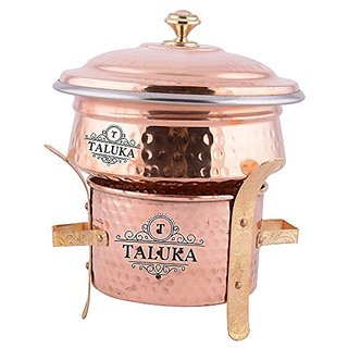 Taluka reg Kitchen Combo Set of 3 Package - 1 Copper Sigri 5quot x 5quot Inches approx 1 Copper Serving Handi (6quot x 2.6quot Inches approx) Capacity - 500 ML WITH LID and 1 Copper Serving Spoon Kitchen Combo Set of 3 Food Warmer, Serving V