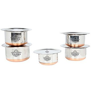 Taluka Stainless Steel Copper Bottom Topes with Lid Steel Topia 5 PCS COMBO SET || 1,1.5,2,3,3.5 Liter in One set KITCHEN