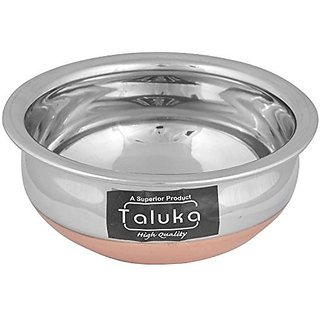 Taluka Copper Bottom Stainless Steel Handi 550 ml 14 cm x 14 cm x 6.5 cm THCB550