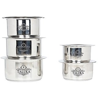 Taluka Stainless Steel Induction Friendly Topes with Lid Steel Topia 5 PCS COMBO SET  1.5,2,2.5,3,3.5 Liter in One set KITCHEN COMBO