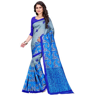 Ajira Blue Bhagalpuri Silk Self Design Saree With Blouse