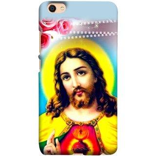 FUSON Designer Back Case Cover For Oppo F3 Plus (Sacred Heart Of Jesus Christ Red Roses Long Hairs)