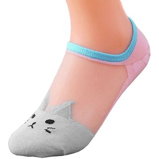 DDH Ankle High Low Cut Invisible Cotton Cat Print Women Socks-2 Pair
