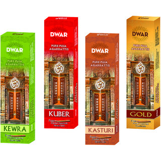 Dwar Agarbatti Combo of 4 Kewra Kuber Kasturi Gold- 100 Sticks each-With Free Stand in each Pack