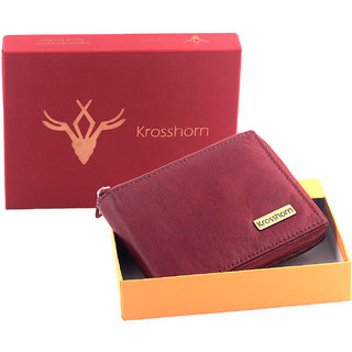 Krosshorn Genuine Leather Red Casual Wallet (KW11092)
