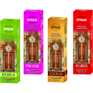 Dwar Agarbatti Combo of 4 Kewra Pink rose Gold Kuber- 100 Sticks each-With Free Stand in each Pack