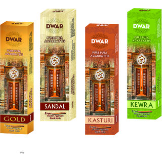 Dwar Agarbatti Combo of 4 Gold Sandal Kasturi Kewra- 100 Sticks each-With Free Stand in each Pack