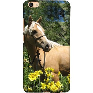 FUSON Designer Back Case Cover For VIVO Y66 (Pony Field Coffee Colour Horse Strong Walking )