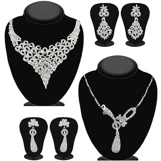 Meia Silver Plated Designer 2 Necklace Set For Women