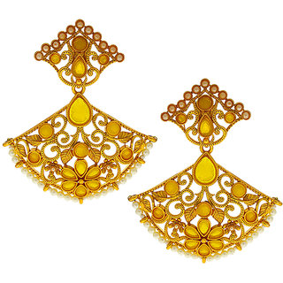 Anuradha Art Yellow Colour Very Pretty Designer Traditional Earrings For Women/Girls