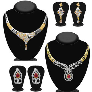 Meia Gold Plated Designer 2 Necklace Combo For Women