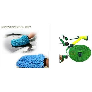 Combo for Microfiber Gloves with 10 Mtr Water Spray Gun (Multicolor)