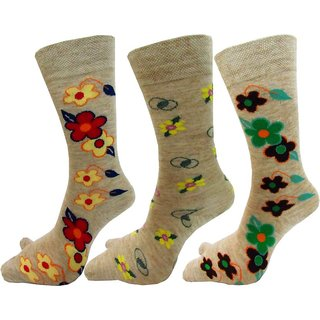 DDH Class Women Self Design Crew Length Socks-3 Pair