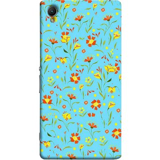 FUSON Designer Back Case Cover For Sony Xperia Z4 Compact :: Sony Xperia Z4 Mini (Grey Yellow Red Small Checks Background Fresh Flowers)