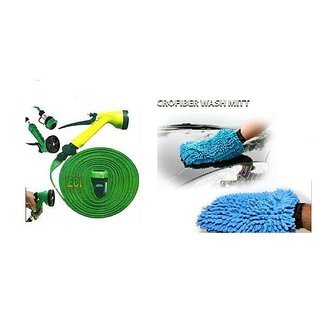 love4ride Combo of Microfiber Glove with water spray gun (10 mtr)
