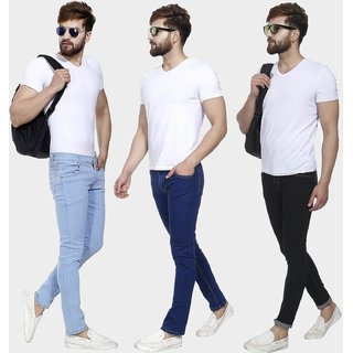 Pack of 3 Men Slim Fit Streachabe jeans by Klick2style