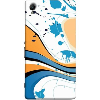 FUSON Designer Back Case Cover For Sony Xperia Z5 :: Sony Xperia Z5 Dual 23MP (Paint And Patches Artist Perfect Waves Black )