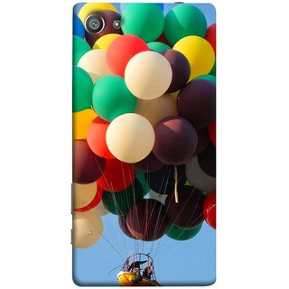 FUSON Designer Back Case Cover For Sony Xperia Z5 Compact :: Sony Xperia Z5 Mini (Up Up Sky Blue Colourful Balloons Boat Man )