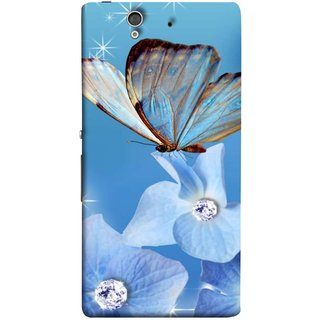 FUSON Designer Back Case Cover For Sony Xperia Z :: Sony Xperia ZC6603 :: Sony Xperia Z L36h C6602 :: Sony Xperia Z LTE, Sony Xperia Z HSPA+ (In Center Glitter Diamonds Flowers Butterfly Nature)