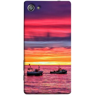 FUSON Designer Back Case Cover For Sony Xperia Z5 Compact :: Sony Xperia Z5 Mini (Red Sky Horizon Fishing Boats Sun Shining Happy)