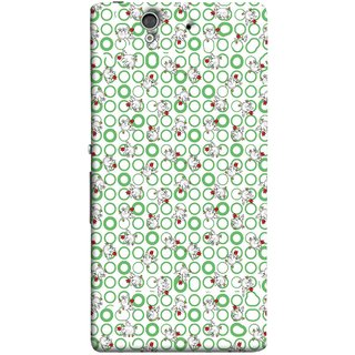 FUSON Designer Back Case Cover For Sony Xperia Z :: Sony Xperia ZC6603 :: Sony Xperia Z L36h C6602 :: Sony Xperia Z LTE, Sony Xperia Z HSPA+ (Small Green Circles On White Bottom Color Printed On Cotton)