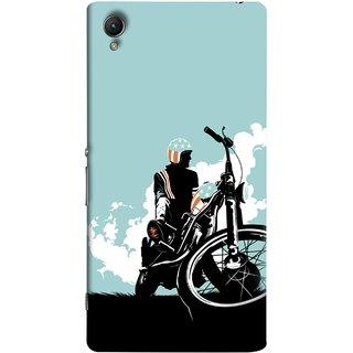 FUSON Designer Back Case Cover For Sony Xperia Z5 Premium :: Sony Xperia Z5 4K Premium Dual (Wheels White Clouds Grass Bike Usa Flag Helmet )