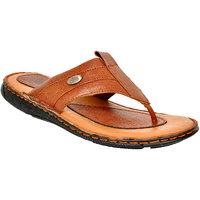 Allen Cooper Tan Men's Leather Casual Slippers