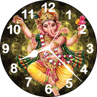 3d yellow ganeshji wall clock