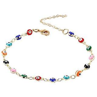 GirlZ! Multi Color Turkish Eyes Gold Color Beads Simple Charm Bracelet