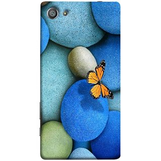 FUSON Designer Back Case Cover For Sony Xperia Z5 Compact :: Sony Xperia Z5 Mini (Butterfly Rocks Beautiful Colorful Blue Splendo Butterfly)