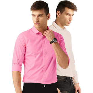 Van Galis Fashion wear Pink And Peach Formal Shirt For Men Pack of  - 2
