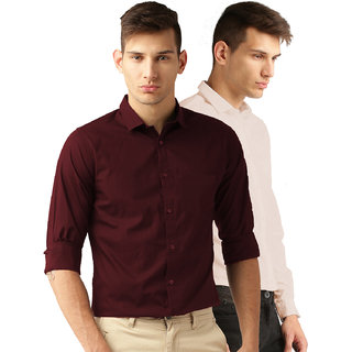 Van Galis Fashion wear Red And Peach Formal Shirt For Men Pack of  - 2