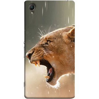 FUSON Designer Back Case Cover For Sony Xperia Z5 Premium :: Sony Xperia Z5 4K Premium Dual (Tiger Lion Chitta Angrily Looking Killer Hunter Shikari)