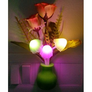 Diwali Mushroom Led Night Lamp With Green Pot Orange Roses with Automatic Color changing  Power Saving Sensors