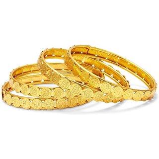 Jewels Kafe Designer Golden Bangles Combo Set of 4
