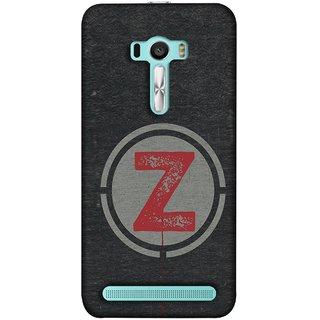 FUSON Designer Back Case Cover For Asus Zenfone 2 Laser ZE601KL (6 Inches) (Dark Alphabet Circle Vintage Grey Circle Pattern Z)