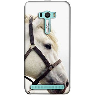 FUSON Designer Back Case Cover For Asus Zenfone 2 Laser ZE601KL (6 Inches) (Beautiful Horse White Closeup Canvas Wallpaper)