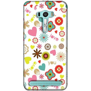 FUSON Designer Back Case Cover For Asus Zenfone 2 Laser ZE601KL (6 Inches) (Love You Pink Yellow Hearts Snow Red Flowers Garden )