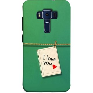 FUSON Designer Back Case Cover For Asus Zenfone 3 Deluxe ZS570KL (5.7 Inches) (You Message Card Over Red Wooden Board Stock Photos)