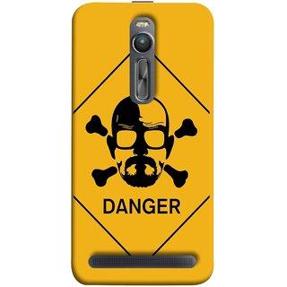 FUSON Designer Back Case Cover For Asus Zenfone 2 ZE551ML (Yellow Background  Bones Danger Triangular Sign )