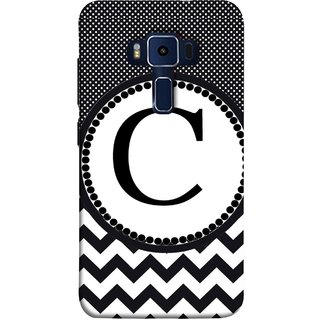 FUSON Designer Back Case Cover For Asus Zenfone 3 Deluxe ZS570KL (5.7 Inches) (Alphabets Dots Black Shade Wave Patterns White)