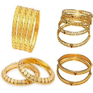 Jewels Kafe Designer Golden Bangles Combo Set of 12