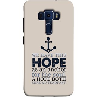 FUSON Designer Back Case Cover For Asus Zenfone 3 Laser ZC551KL (5.5 Inches) (A Hope Both Sure And Steadfast Deep Sea Anchor Ship)