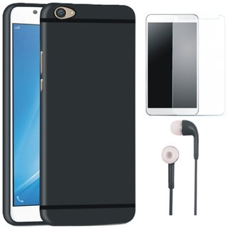 Motorola Moto E4 Stylish Back Cover with Earphones and Tempered Glass