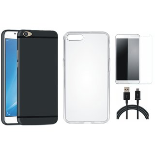 Oppo F1s Soft Silicon Slim Fit Back Cover with Silicon Back Cover, Tempered Glass and USB Cable