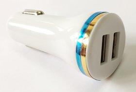 AKSHAJ Hi-Speed Universal Twin 2 Port USB Dual Car Charger Dock Adapter Cigarette Socket Lighter Bullet Charger 2.1 Amp / 1 Amp white